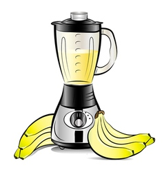 drawing color kitchen blender with bananas juice vector image