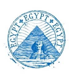 Egypt logo design template Shabby stamp or vector image