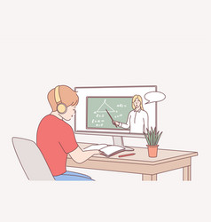 Elearning online education distant studying vector