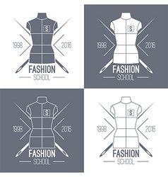 Fashion school emblem vector