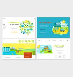 Flat ecology websites set vector