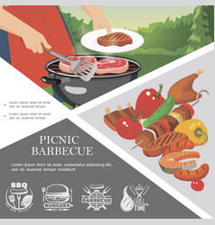 flat picnic weekend template vector image