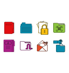 folder icon set color outline style vector image