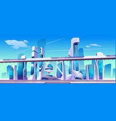 future city futuristic street with glass buildings vector image