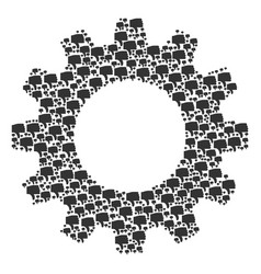 Gear wheel composition of thumb down icons vector