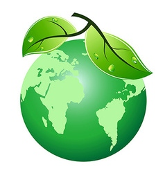 green leaf earth icon vector image