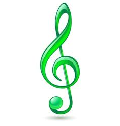 Green treble clef vector