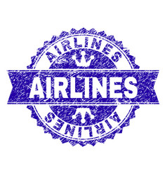 Grunge textured airlines stamp seal with ribbon vector