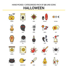 Halloween flat line icon set - business concept vector