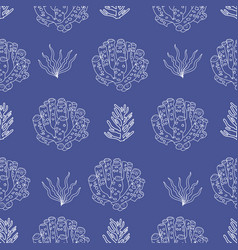 hand drawn under water coral and plants vector image
