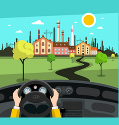 hands on stering wheel in car on road with vector image