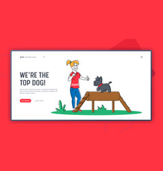 happy woman training dog in park landing page vector image