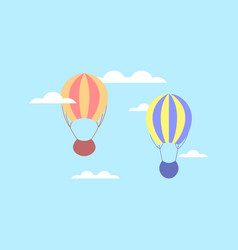 Hot air balloon in clouds balloon in the sky vector
