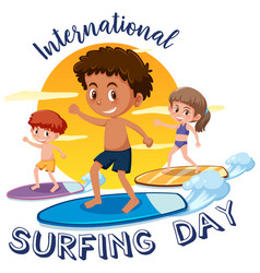International surfing day font with children vector