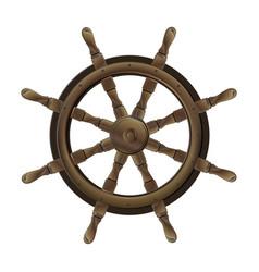 isolated vintage brown wooden steering wheel vector image