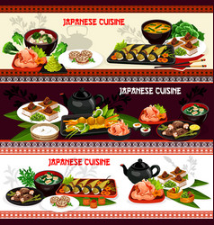 japanese sushi and asian meat dishes with veggies vector image