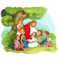 Jesus reading bible with children vector