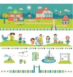 Kids kindergarten preschool buildings and yard vector