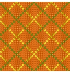 Knitted diamond shape seamless pattern in green vector
