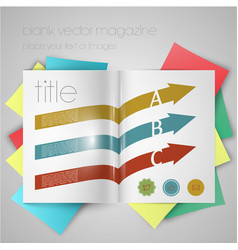 Magazine template with arrows and stickers vector