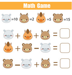 Math educational game counting equations vector