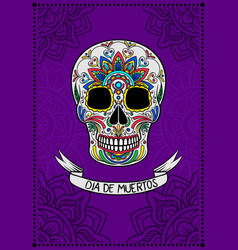 Mexican sugar skull with colorful floral pattern vector