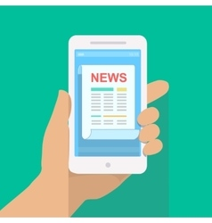 News app on smartphone screen Online digital vector image