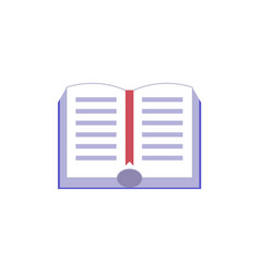 Open paper book with hardcover and red bookmark vector