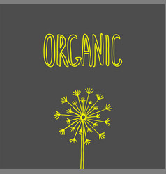 organic hand drawn label healthy diet and vector image