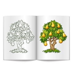 Pear tree with ripe fruits on vector