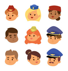 Pilots and stewardess head vector