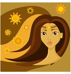 Portrait of a girl with brown hair vector image