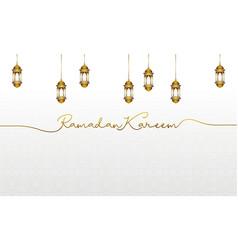 Ramadan kareem greeting with gold islamic lantern vector