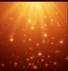 Red and orange background with stars and rays vector