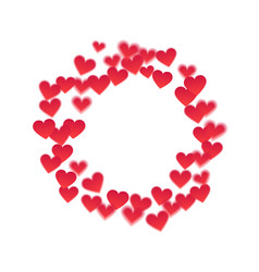 Round frame of hearts vector