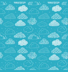 Seamless background with doodle clouds on blue vector