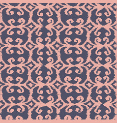 seamless ikat pattern with pink and lilac vector image