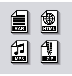 set documents format icon vector image