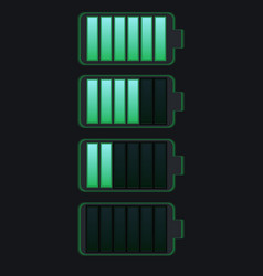 set various types transparent batteries vector image