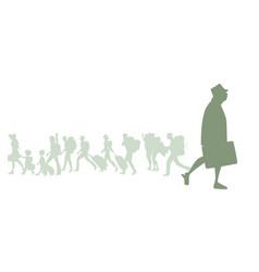 silhouette senior traveler man with hat vector image