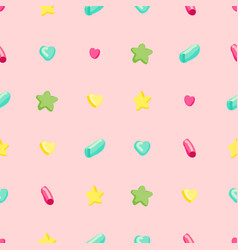 simple pattern with hearts stars and circles vector image
