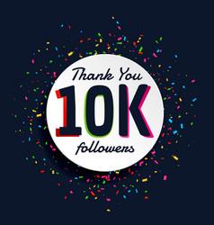 social media 10000 followers success with confetti vector image