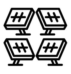 Solar panel farm icon outline style vector