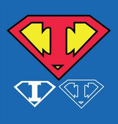 Superhero logo icon with letter i ou vector
