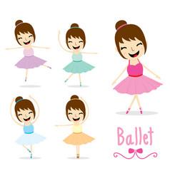 the ballet girl cute activity cartoon design vector image