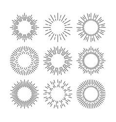 thin line black sunburst design elements vector image