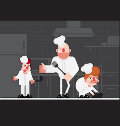 three chef vector image