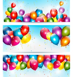 Three holiday banners with colorful balloons vector image