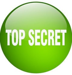 Top secret green round gel isolated push button vector