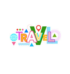 travel word web banner abstract creative template vector image vector image